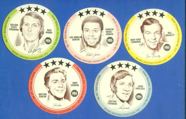 1976 Buckmans Discs  - Lot of (5) with Kareem Abdul-Jabbar Basketball cards value