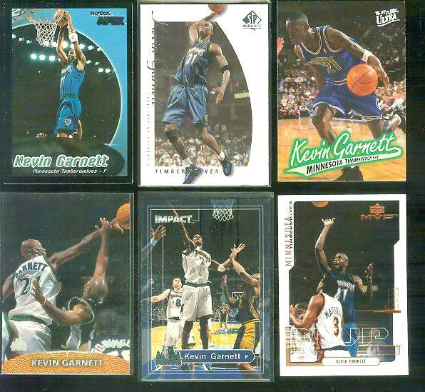 Kevin Garnett - Lot of (6) different Basketball cards value