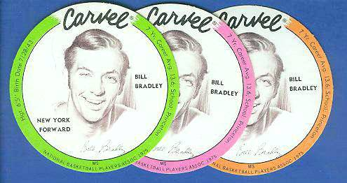 1975 Carvel Discs - Bill Bradley PINK Basketball cards value