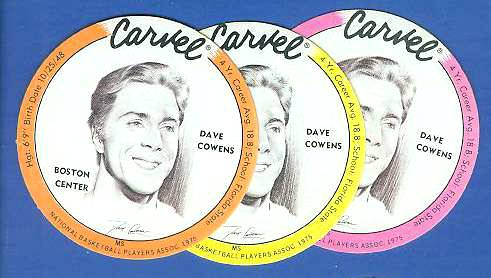 1975 Carvel Discs - Dave Cowens PINK Basketball cards value