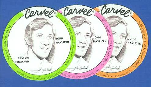 1975 Carvel Discs - John Havlicek ORANGE Basketball cards value