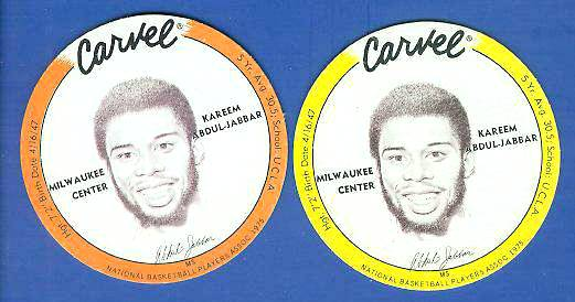 1975 Carvel Discs - Kareem Abdul-Jabbar ORANGE Basketball cards value
