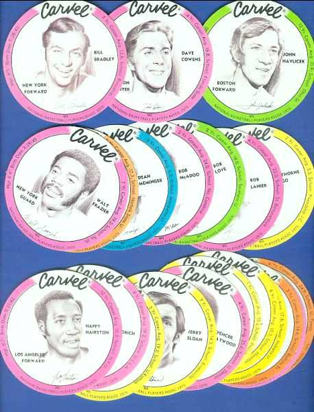 1975 Carvel Discs - Lot (16) different players PACKED w/HALL-OF-FAMERS !!! Basketball cards value