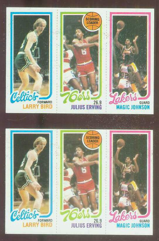 1980-81 Topps #..6 34 Larry Bird/Julius Erving/Magic Johnson [#a] ROOKIE Basketball cards value