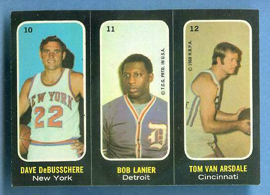 1971-72 Topps Trios Basketball #10 Dave DeBusschere/Bob Lanier ROOKIE Basketball cards value