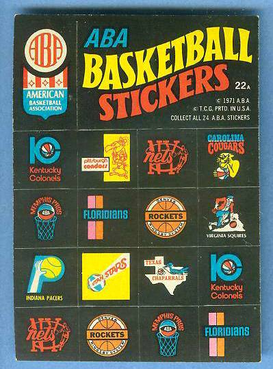 1971-72 Topps Trios Basketball #22a ABA Team Logo Stickers Basketball cards value
