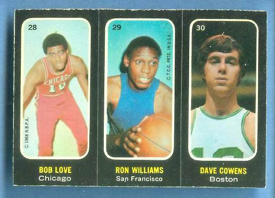 1971-72 Topps Trios Basketball #28 Dave Cowens/Bob Love/Ron Williams Basketball cards value