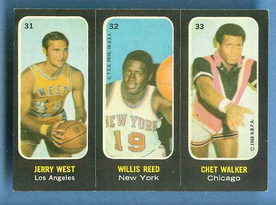 1971-72 Topps Trios Basketball #31 Jerry West/Willis Reed [#a] Basketball cards value