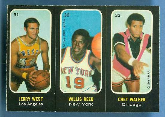 1971-72 Topps Trios Basketball #31 Jerry West/Willis Reed [#b] Basketball cards value