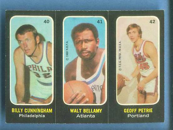 1971-72 Topps Trios Basketball #40 Billy Cunningham SHORT PRINT Basketball cards value
