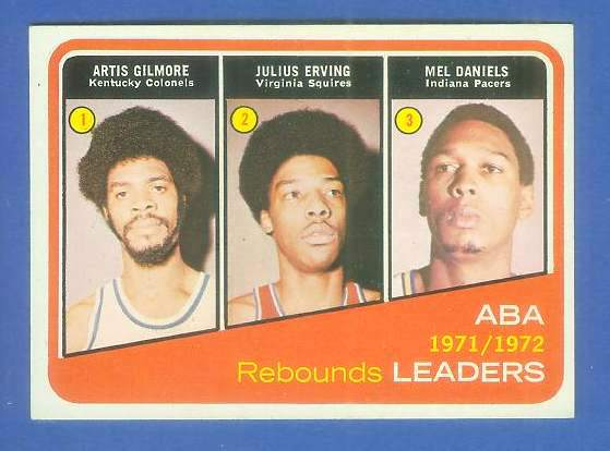 1972-73 Topps Basketball #263 ABA Leaders w/Julius Erving ROOKIE [#a] Basketball cards value
