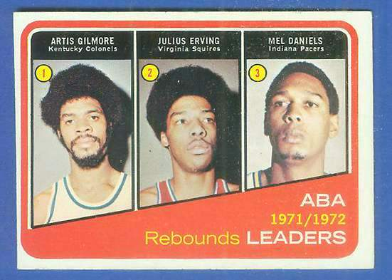 1972-73 Topps Basketball #263 ABA Leaders w/Julius Erving ROOKIE [#b] Basketball cards value