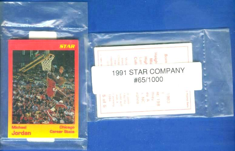 1991 Star 'MICHAEL JORDAN' - COMPLETE FACTORY SEALED SET (5 cards) Basketball cards value