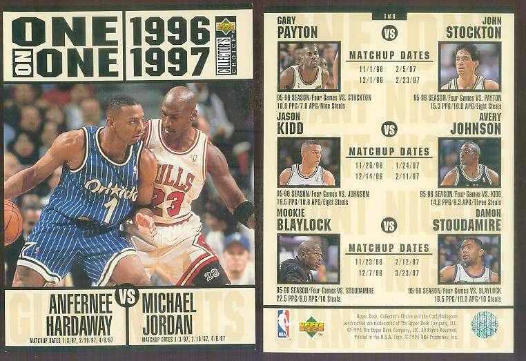 1996-97 UD ONE-ON-ONE JUMBO #1 MICHAEL JORDAN vs Anfernee Hardaway Basketball cards value
