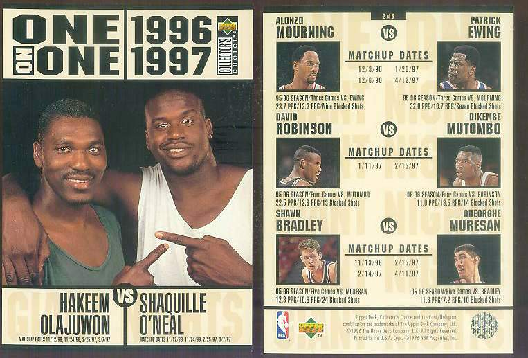 1996-97 UD ONE-ON-ONE JUMBO #2 SHAQUILLE O'NEAL vs HAKEEM OLAJUWON Basketball cards value