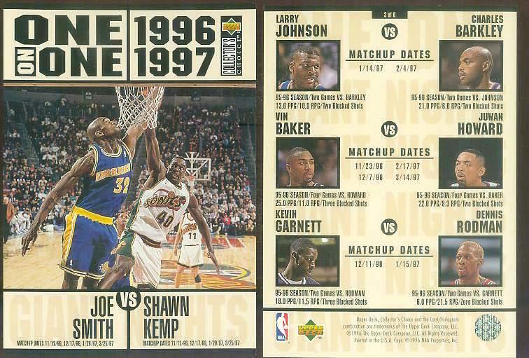 1996-97 UD ONE-ON-ONE JUMBO #3 Joe Smith vs Shawn Kemp Basketball cards value