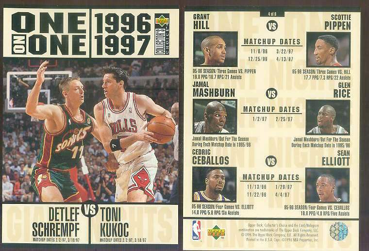 1996-97 UD ONE-ON-ONE JUMBO #4 Detlef Schremph vs Toni Kukoc Basketball cards value