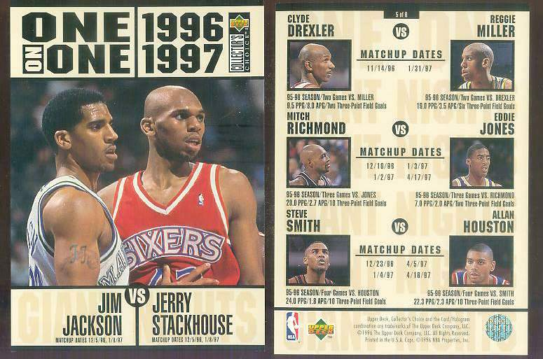 1996-97 UD ONE-ON-ONE JUMBO #5 Jerry Stackhouse vs Jim Jackson Basketball cards value