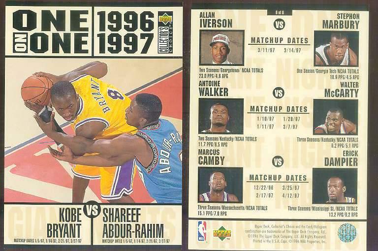1996-97 UD ONE-ON-ONE JUMBO #6 KOBE BRYANT ROOKIE vs Shareef Abdur-Rahim Basketball cards value