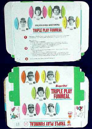 Brewers - 1977 Burger Chef UNFOLDED Funmeal Box COMPLETE TEAM SET Baseball cards value