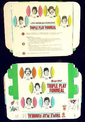 Dodgers - 1977 Burger Chef UNFOLDED Funmeal Box COMPLETE TEAM SET Baseball cards value