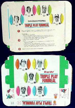 Padres - 1977 Burger Chef UNFOLDED Funmeal Box COMPLETE TEAM SET Baseball cards value