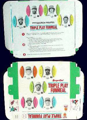 Pirates - 1977 Burger Chef UNFOLDED Funmeal Box COMPLETE TEAM SET Baseball cards value