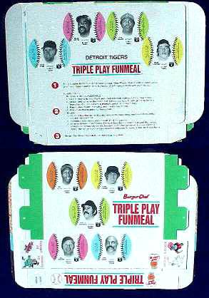 Tigers - 1977 Burger Chef UNFOLDED Funmeal Box COMPLETE TEAM SET Baseball cards value