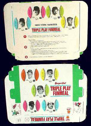 Yankees - 1977 Burger Chef UNFOLDED Funmeal Box COMPLETE TEAM SET Baseball cards value