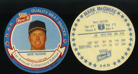#.6 Mark McGwire  - 1988 King-B disc (A's) Baseball cards value