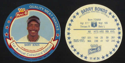 #11 Barry Bonds  - 1988 King-B disc (Pirates) Baseball cards value