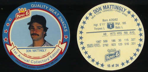 #15 Don Mattingly  - 1988 King-B disc (Yankees) Baseball cards value