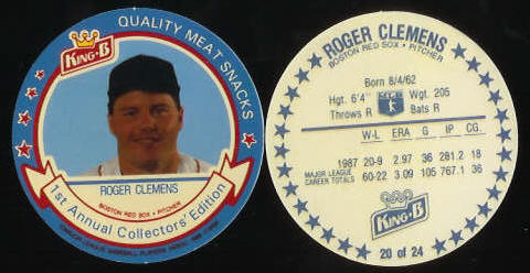 #20 Roger Clemens  - 1988 King-B disc (Red Sox) Baseball cards value