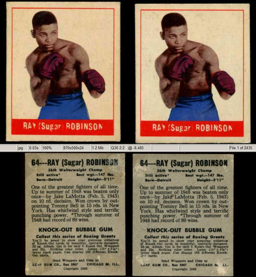 1948 Leaf #64 Sugar Ray Robinson [#a] [Boxing] Baseball cards value