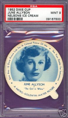 1952 Dixie Cup Nelson Ice Cream - JUNE ALLYSON Non-Sport cards value