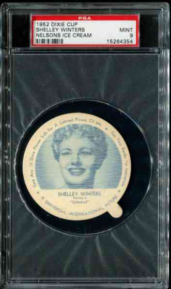 1952 Dixie Cup Nelsons Ice Cream - SHELLY WINTERS Baseball cards value