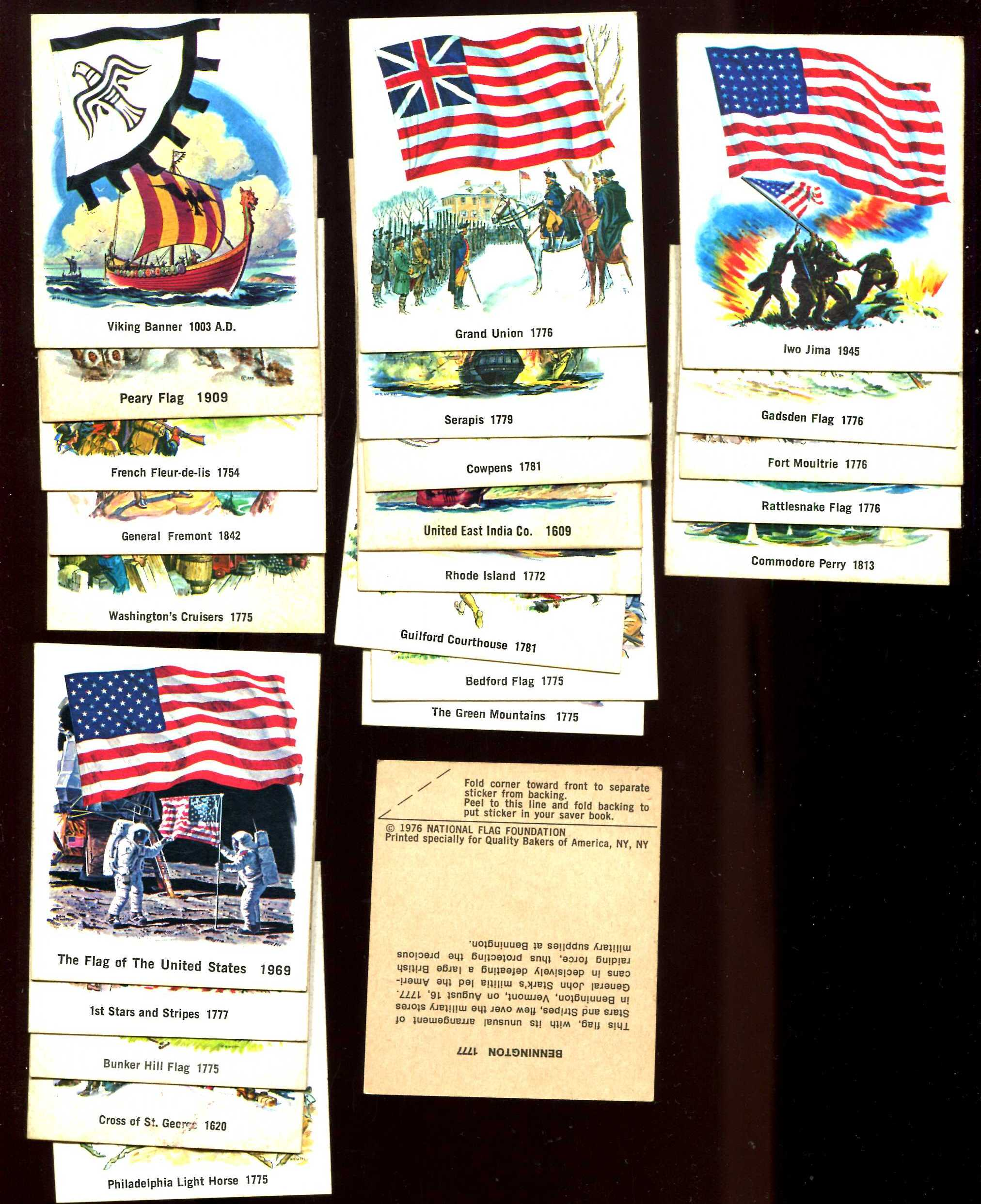 1976 National Flag Foundation STICKERS - Near Set Lot of (24) different n cards value