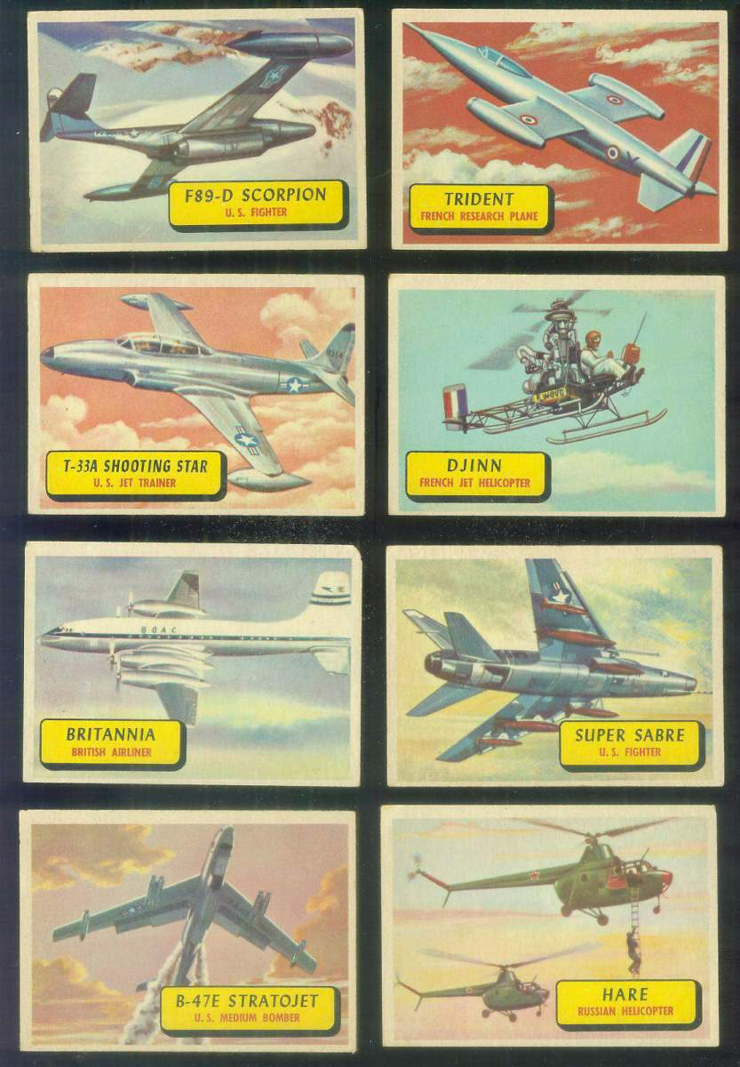 1957 Topps Planes Blue Backs #.18 T-33A Shooting Star Non-Sport cards value