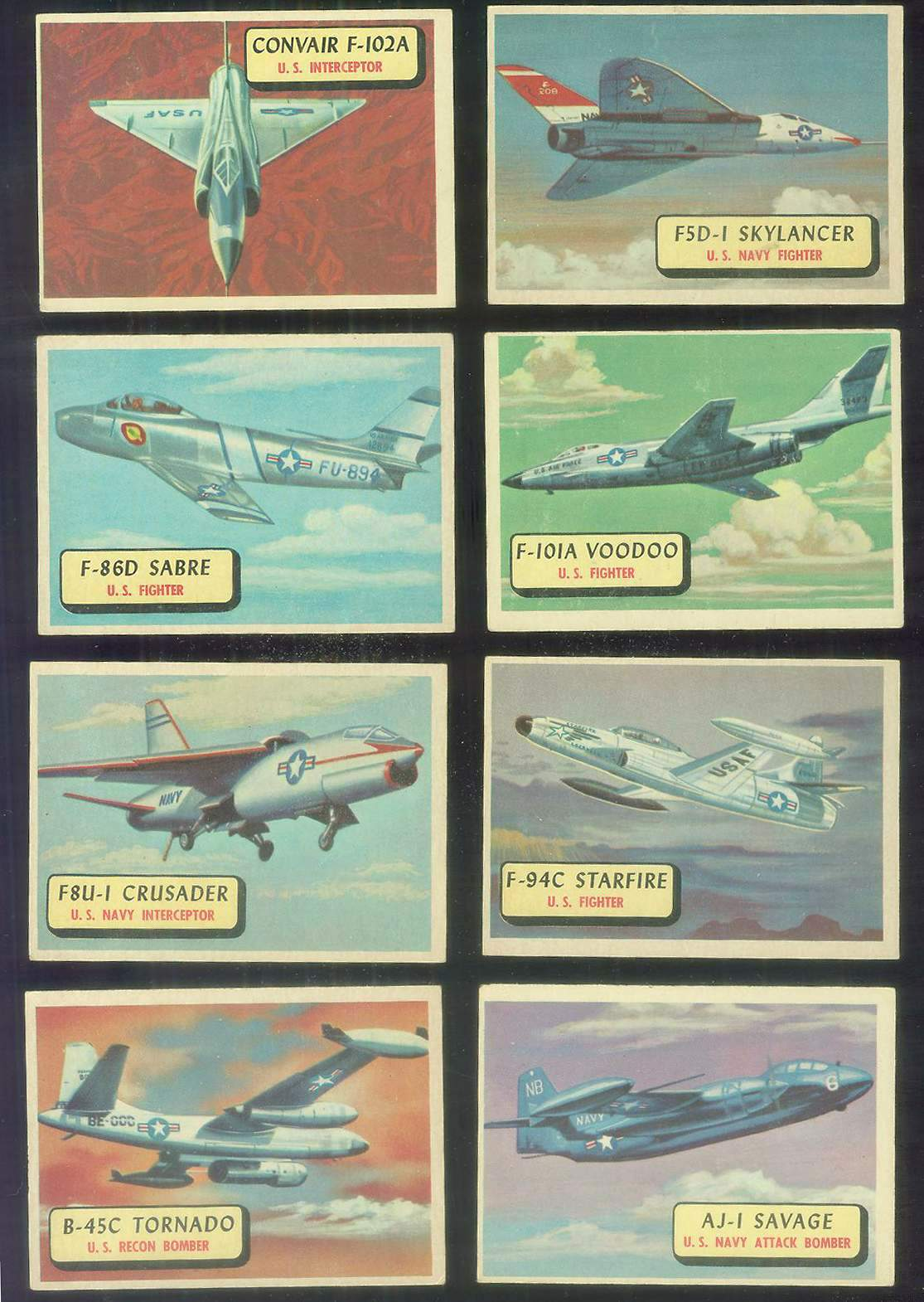 1957 Topps Planes Blue Backs #100 AJ-1 Savage Non-Sport cards value