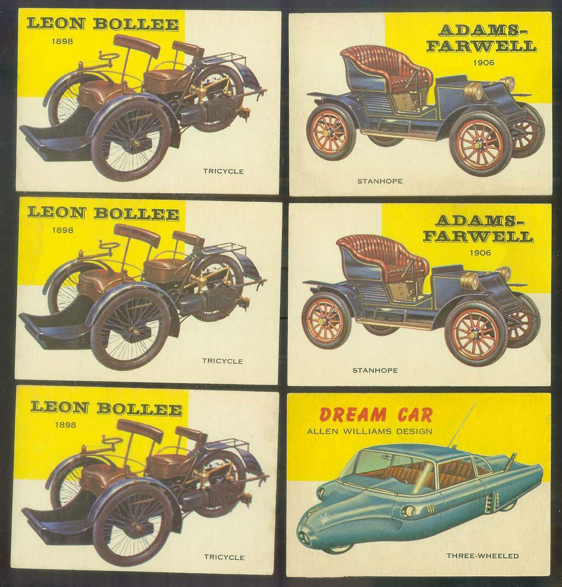 1954-55 Topps WORLD ON WHEELS #109 Leon Bollee Tricycle 1898 Non-Sport cards value