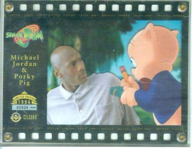 Michael Jordan & Porky Pig 'Space Jam' Celcard - In 4-screw Acrylic holder n cards value
