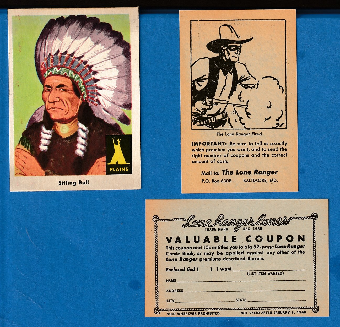 1939 Lone Ranger Cones Coupon card - The Lone Ranger Fired n cards value