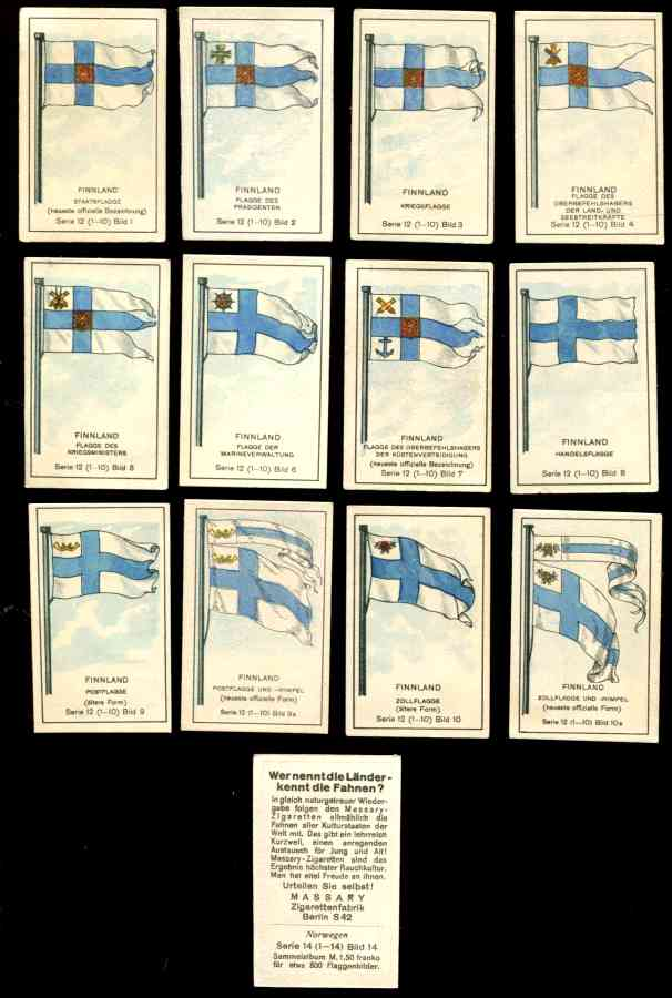 1929 'Wer nennt die Lander' FINNLAND/FINLAND Flag cards - SET (12 cards) n cards value