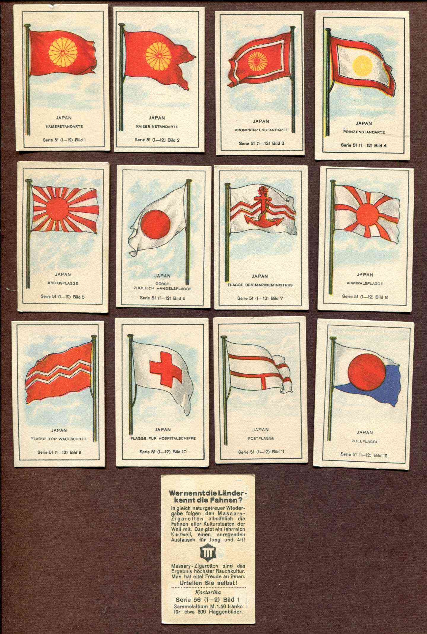 1929 'Wer nennt die Lander' JAPAN Flag cards - SET (Series 51-12 cards) n cards value