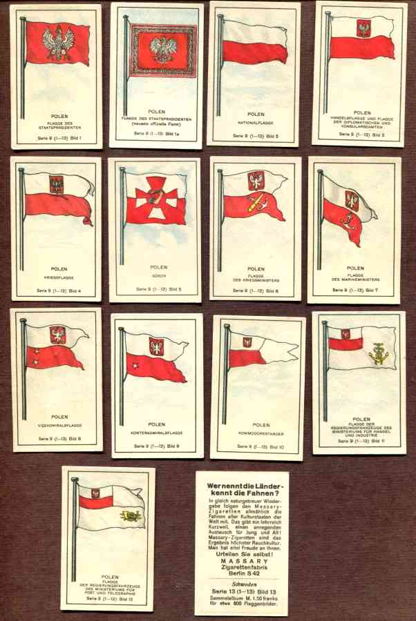 1929 'Wer nennt die Lander' POLEN/POLAND Flag cards - COMPLETE SET (14) n cards value