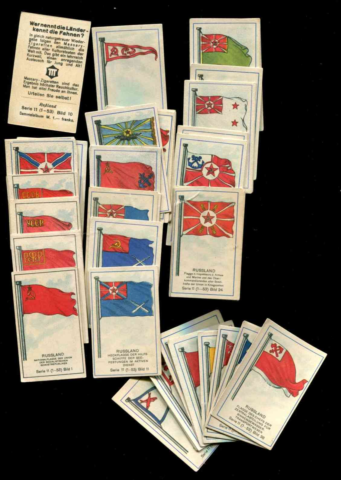 1929 'Wer nennt die Lander' RUSSIAN FLAG CARDS  - NEAR SET (48/53) n cards value