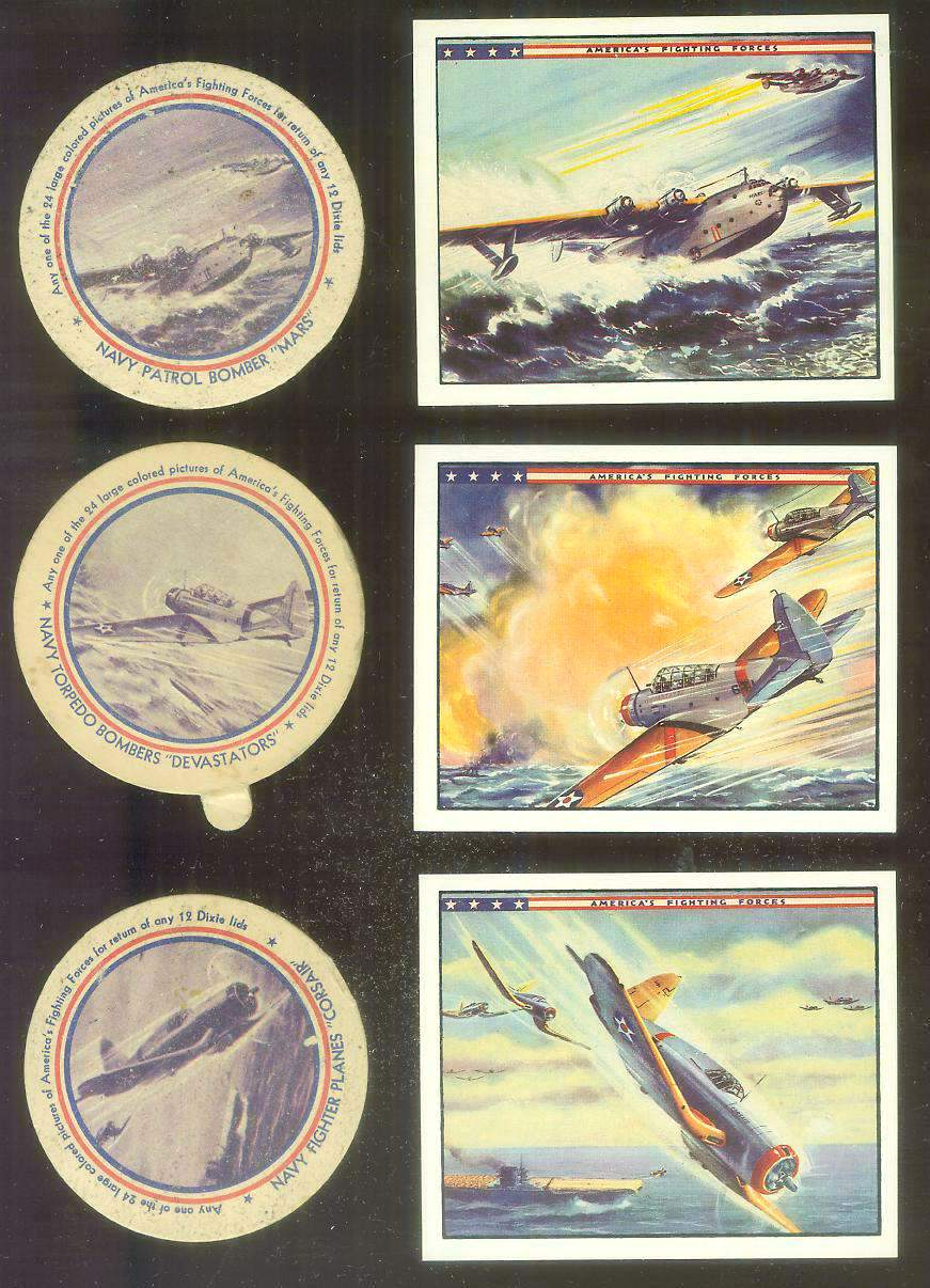1942 Dixie Lids AMERICA'S FIGHTING FORCES #.7 Heavy Bombers Non-Sport cards value