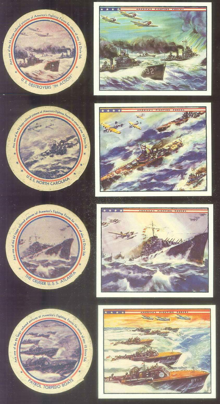 1942 Dixie Lids AMERICA'S FIGHTING FORCES #16 Submarines Non-Sport cards value