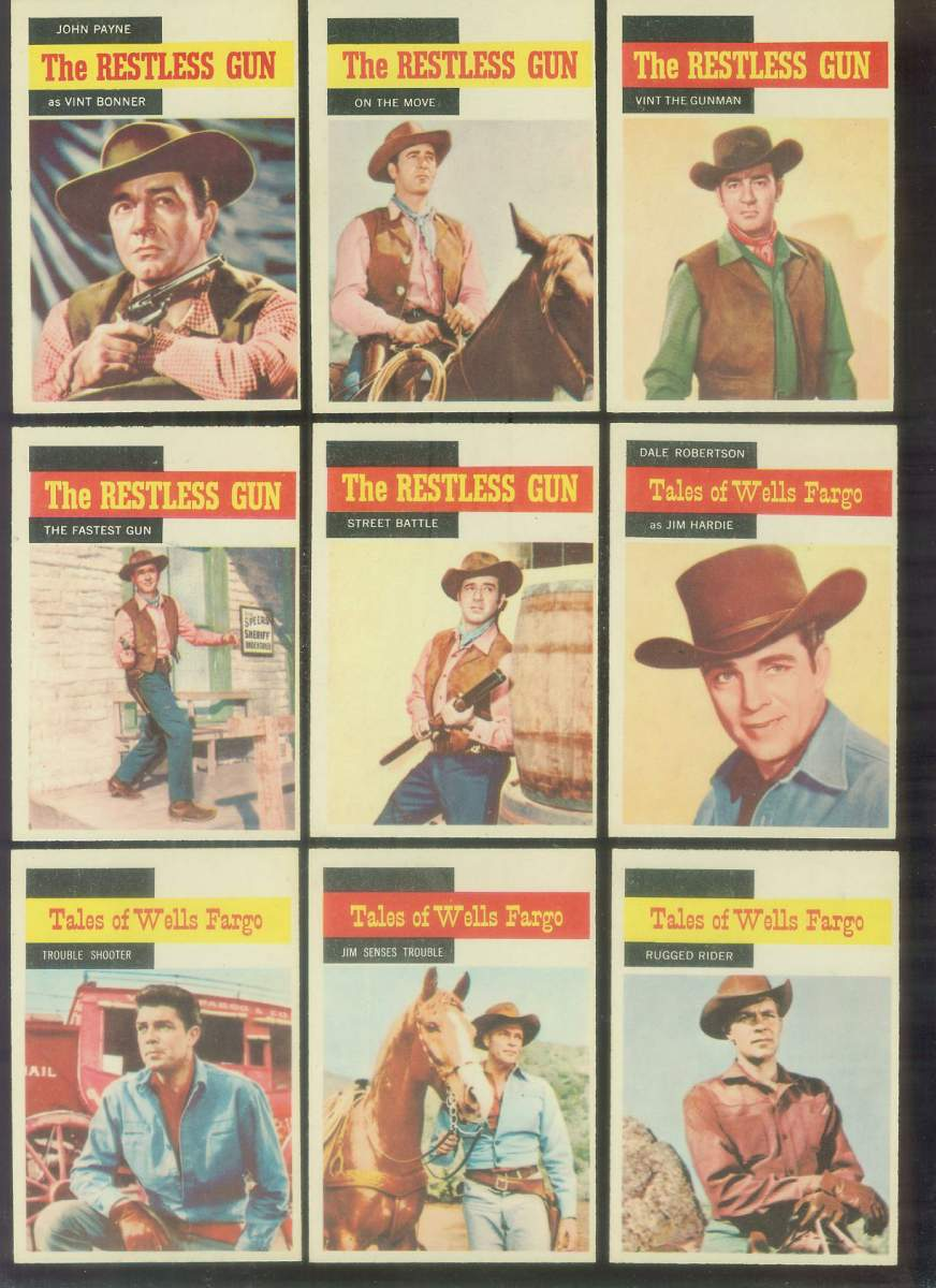 1958 A & BC Gum TV Westerns #37 RESTLESS GUN 'John Payne as Vint Bonner' Non-Sport cards value