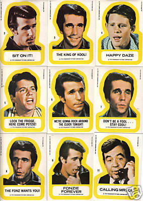 1976 Topps HAPPY DAYS - COMPLETE STICKERS Insert SET (11 cards) Non-Sport cards value